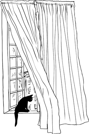 Outline sketch of drapes blowing in wind in front of open casement window and black cat looking at downtown Stockholm in background