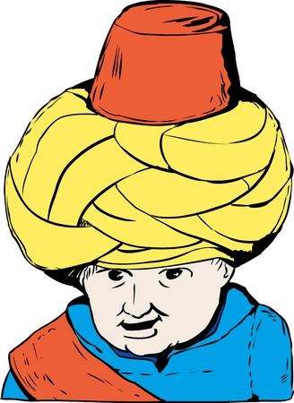 century: Sketch cartoon close up on smiling face of 18th century Turkish Muslim doll over white background Illustration