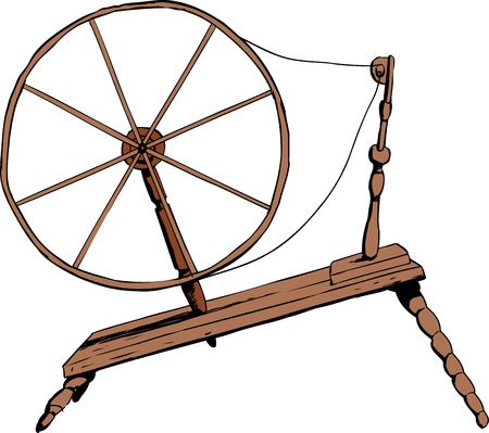 spindle: Illustration of side view on single old fashioned wooden 18th century era textile spinning wheel