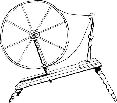 spinning: Outlined side view on single old fashioned wooden 18th century era textile spinning wheel