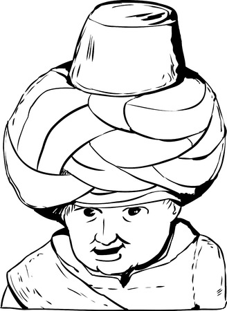 18th century: Sketch outline close up on smiling face of 18th century Arab or Turkish Muslim doll over white background