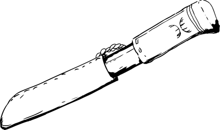 holster: Hand drawn outline drawing of a single Saami hunting knife with holster Illustration