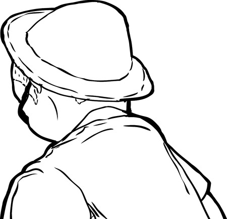 downward: Outline sketch of mature man in hat and sunglasses from rear view looking downward