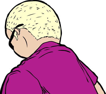 downward: Single blond mature man and short hair in sunglasses from rear view looking downward