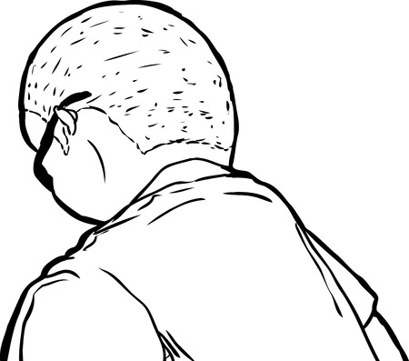 shaved head: Outline of mature man in sunglasses from rear view looking downward