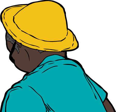 man looking out: Rear view of man in yellow hat and green shirt over white background Illustration