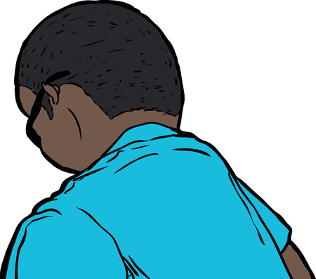 Single man in sunglasses and blue shirt from rear view looking downward