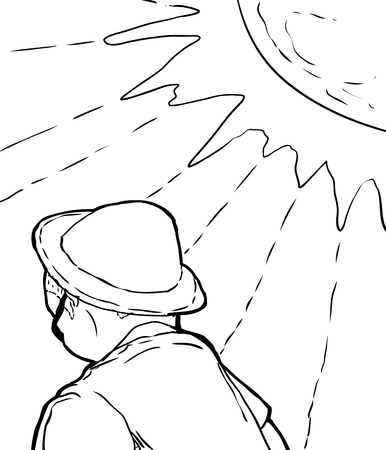 looking away: Single outlined man in hat under bright sun rays as cartoon Illustration