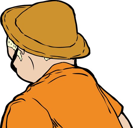 Blond man in brown hat and sunglasses from rear view looking downward Ilustração