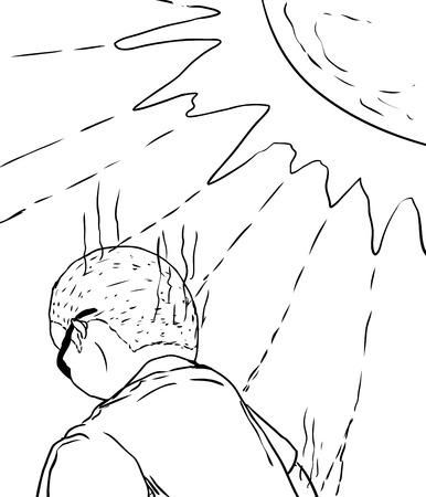 머리와 팔 햇볕에 받고의 뒷면 남자의 윤곽이 그려진 된 그림 일러스트