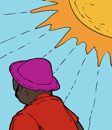 bright sun: Single adult African man in purple hat and red shirt under bright sun