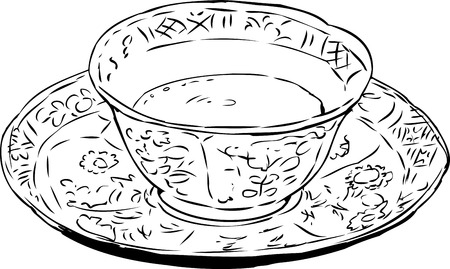 18th: Outlined illustration of antique 18th century teacup and saucer full with coffee