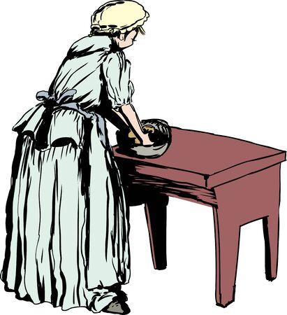 18 世紀衣料品の表生地を混練の独身白人女性のイラスト