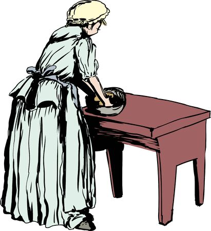 kneading: Illustration of single Caucasian woman in 18th century clothing kneading dough on table