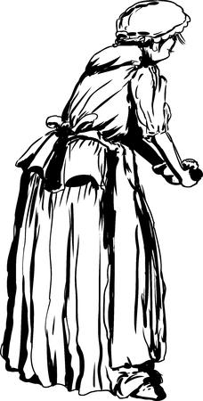 18 世紀の服の生地を混練の独身女性の背面の概要