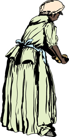 18 世紀の服の生地を混練のアフリカの女性の背面の図