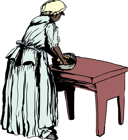 kneading: Illustration of single African woman in 18th century clothing kneading dough on table