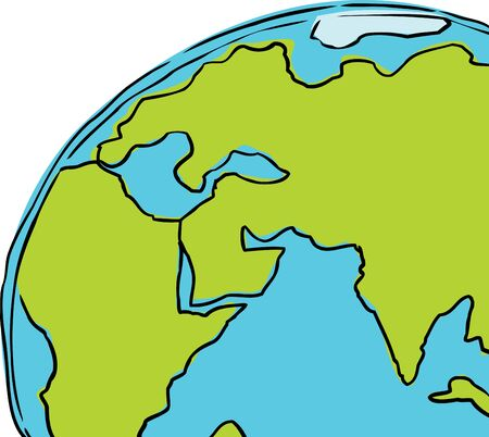 europe closeup: cartoon of the planet earth cropped to include African, Europe and India Illustration