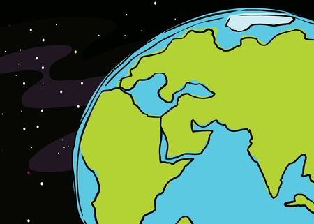 cropped: cartoon of the planet earth cropped to include African, Europe and India Illustration