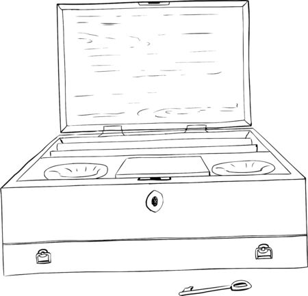 Outline drawing of late 18th century antique paint box with key over white background