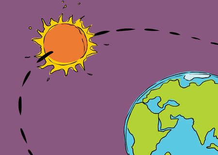 orbiting: Cartoon of the sun orbiting the planet earth for concept about geocentrism