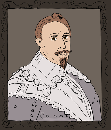 adolf: Color sketch of Gustav II Adolf was the king of Sweden from 1611 to 1632 Illustration