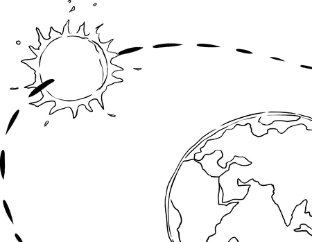 orbiting: Outline drawing of the sun orbiting the planet earth for concept about geocentrism