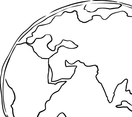 cropped: Outline cartoon of the planet earth cropped to include African, Europe and India Illustration