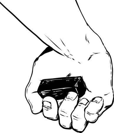 fine art: Outline cartoon close up on human hand holding fine art charcoal block