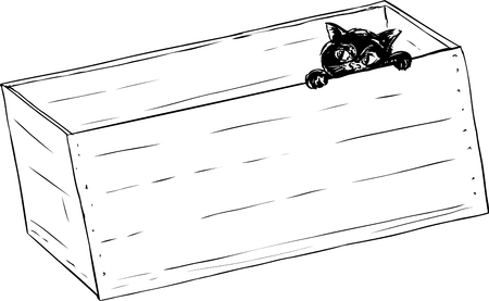 peep out: Sketch illustration outline of adorable little kitten peeking from inside of wooden crate
