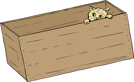 peep out: Hand drawn illustration of cute tabby kitten peeking from inside of wooden crate