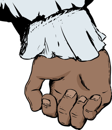 Illustration of inside of partially open human hand sticking out of 18th century sleeve holding something