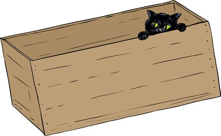 wooden crate: Hand drawn illustration of cute black kitten peeking from inside of wooden crate