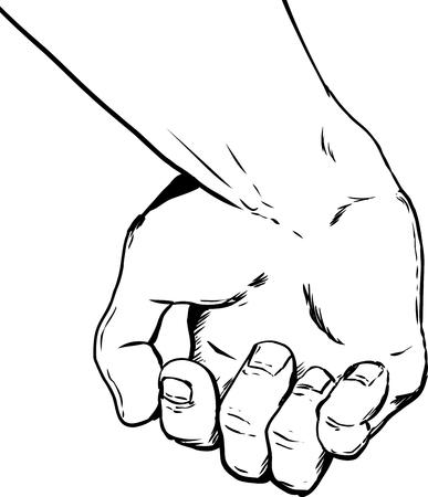Schets illustratie van de binnenkant van gedeeltelijk open lege hand bedrijf iets