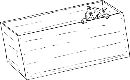 crate: Outline illustration of cute tabby kitten peeking from inside of wooden crate
