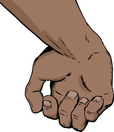 Illustratie van de binnenkant van gedeeltelijk open menselijke hand met iets op een witte achtergrond