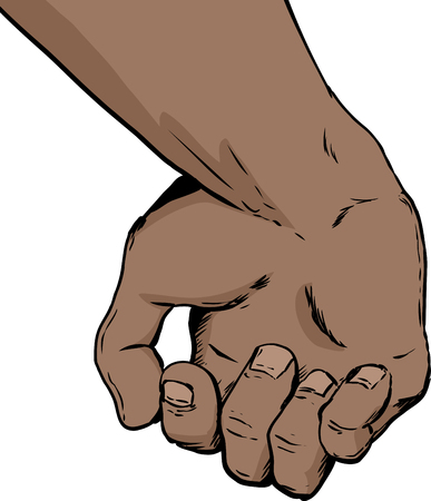 close out: Illustration of inside of partially open human hand holding something over white background