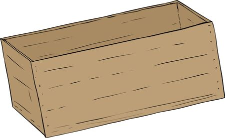 crate: Hand drawn illustration of single wooden empty crate Illustration