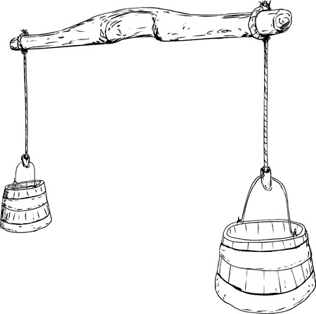 century: Outlined cartoon sketch of 18th century carved wooden yoke with rope holding two large buckets for carrying water