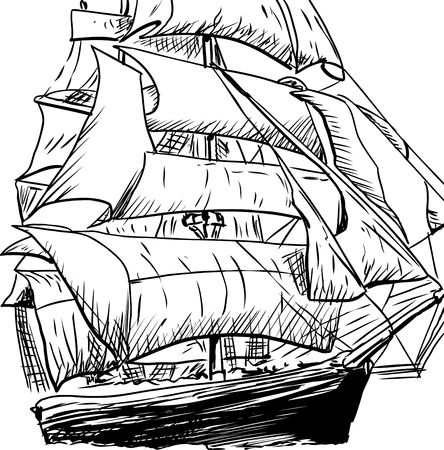 clipper: Cropped doodle sketch of 18th century clipper ship Illustration