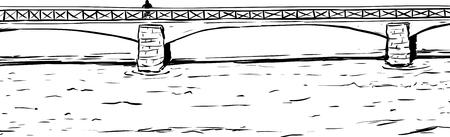 Outline illustration of person standing near edge of Skeppsholmsen bridge in Stockholm Sweden