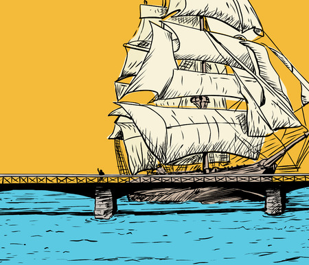 bridge over water: Single large clipper ship moving close to bridge over water Illustration