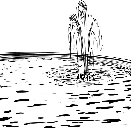 Outlined doodle illustration of water fountain spraying up in round pool Illustration