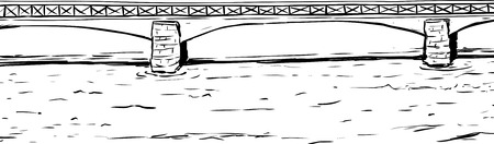 스톡홀름의 물을 가로 지르는 Skeppsholmsen 다리의 개요 일러스트