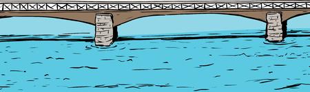 arched: Illustration of Skeppsholmsen bridge spanning across water in Stockholm