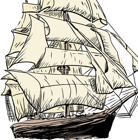 clipper: Outlined cropped doodle sketch of 18th century clipper ship