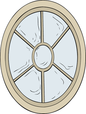 century: Oval shaped 18th century neoclassical glass window illustration over white