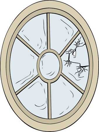 broken glass window: Single oval shaped broken glass window illustration over white