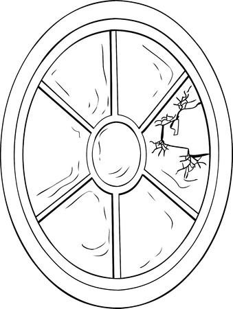 broken glass window: Outlined oval shaped broken glass window illustration over white