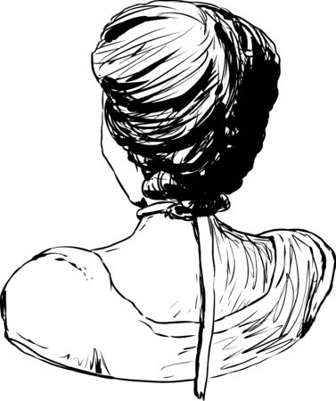 Hand drawn outline sketch of 18th century female hair fashion Illustration